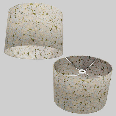 Oval Lamp Shade - W02 ~ Pink Cherry Blossom on Grey, 40cm(w) x 30cm(h) x 30cm(d)