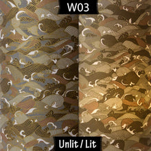 Drum Lamp Shade - W03 ~ Gold Waves on Greys, 20cm(d) x 20cm(h) - Imbue Lighting