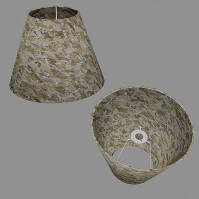 Conical Lamp Shade W03 - Gold Waves on Greys, 15cm(top) x 30cm(bottom) x 22cm(height)