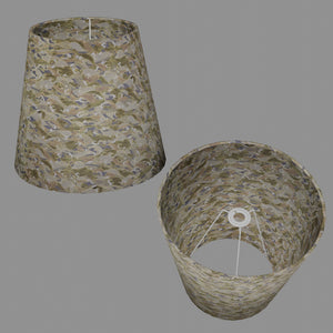 Conical Lamp Shade W03 - Gold Waves on Greys, 23cm(top) x 35cm(bottom) x 31cm(height)