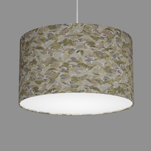 Drum Lamp Shade - W03 ~ Gold Waves on Greys, 35cm(d) x 20cm(h)