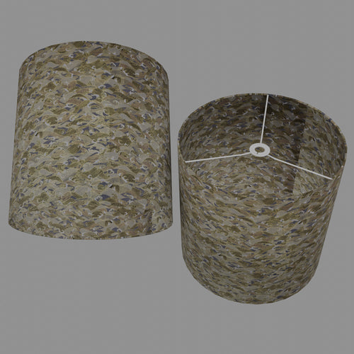 Drum Lamp Shade - W03 ~ Gold Waves on Greys, 40cm(d) x 40cm(h)