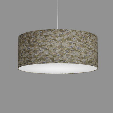 Drum Lamp Shade - W03 - Gold Waves on Greys, 50cm(d) x 20cm(h)