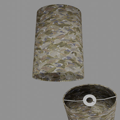 Oval Lamp Shade - W03 ~ Gold Waves on Greys, 20cm(w) x 30cm(h) x 13cm(d)