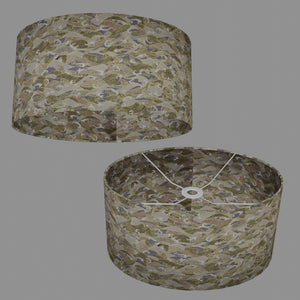 Oval Lamp Shade - W03 ~ Gold Waves on Greys, 40cm(w) x 20cm(h) x 30cm(d)