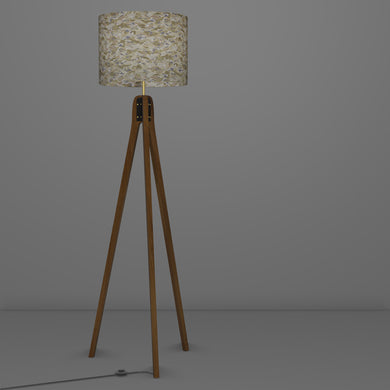 Sapele Tripod Floor Lamp - W03 ~ Gold Waves on Greys