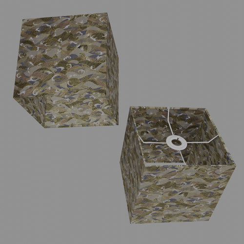 Square Lamp Shade - W03 ~ Gold Waves on Greys, 20cm(w) x 20cm(h) x 20cm(d)