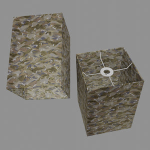 Square Lamp Shade - W03 ~ Gold Waves on Greys, 20cm(w) x 30cm(h) x 20cm(d)
