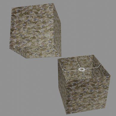 Square Lamp Shade - W03 ~ Gold Waves on Greys, 30cm(w) x 30cm(h) x 30cm(d)