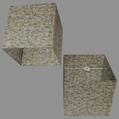 Square Lamp Shade - W03 ~ Gold Waves on Greys, 40cm(w) x 40cm(h) x 40cm(d)