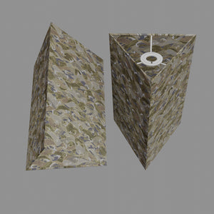 Triangle Lamp Shade - W03 ~ Gold Waves on Greys, 20cm(w) x 30cm(h)