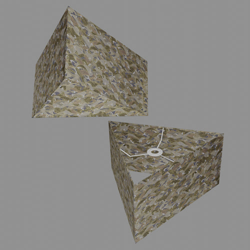 Triangle Lamp Shade - W03 ~ Gold Waves on Greys, 40cm(w) x 20cm(h)