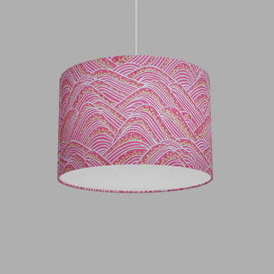 Drum Lamp Shade - W04 ~ Pink Hills with Gold Flowers, 30cm(d) x 20cm(h)