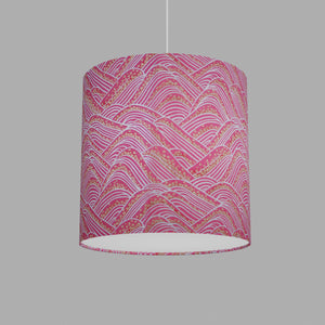 Drum Lamp Shade - W04 ~ Pink Hills with Gold Flowers, 30cm(d) x 30cm(h)