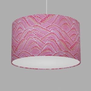 Drum Lamp Shade - W04 ~ Pink Hills with Gold Flowers, 35cm(d) x 20cm(h)