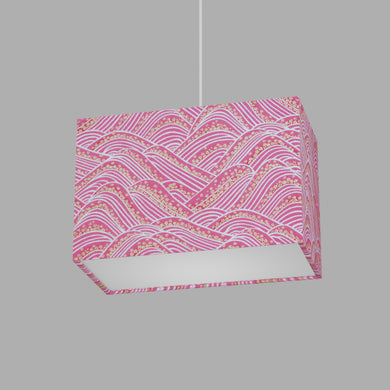 Rectangle Lamp Shade - W04 ~ Pink Hills with Gold Flowers, 30cm(w) x 20cm(h) x 15cm(d)