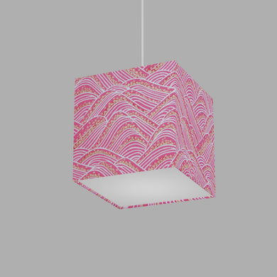 Square Lamp Shade - W04 ~ Pink Hills with Gold Flowers, 20cm(w) x 20cm(h) x 20cm(d)