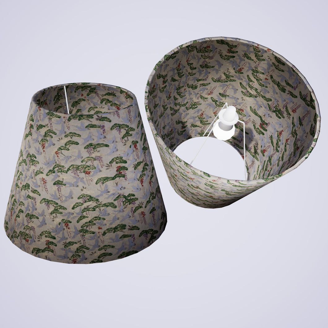 Conical Lamp Shade W05 - Cranes, 23cm(top) x 40cm(bottom) x 31cm(height)