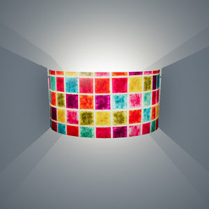 Wall Light - P01 - Batik Multi Square, 36cm(wide) x 20cm(h) - Imbue Lighting