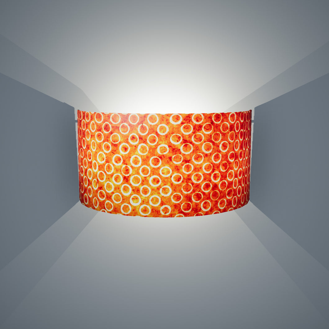 Wall Light - P03 - Batik Orange Circles, 36cm(wide) x 20cm(h) - Imbue Lighting