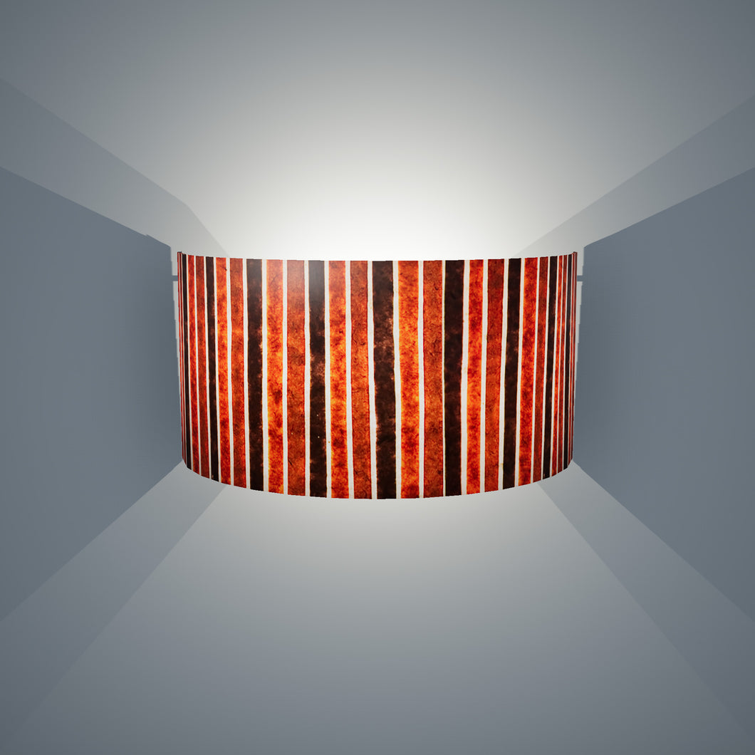 Wall Light - P07 - Batik Stripes Brown, 36cm(wide) x 20cm(h) - Imbue Lighting
