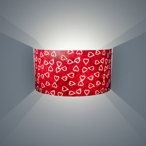 Wall Light - P16 - Batik Hearts on Cranberry, 36cm(wide) x 20cm(h) - Imbue Lighting