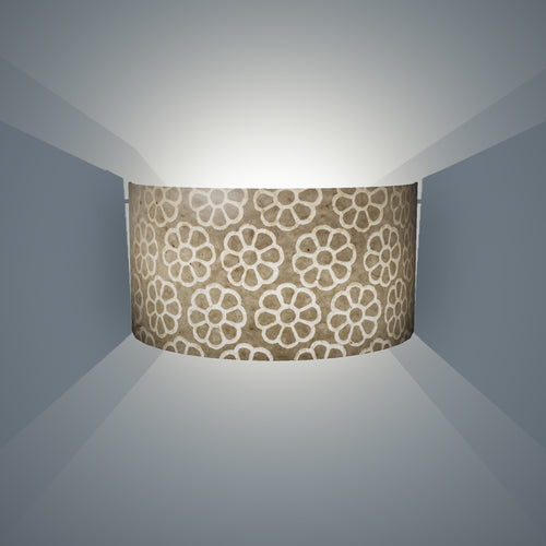 Wall Light - P17 - Batik Big Flower on Natural, 36cm(wide) x 20cm(h) - Imbue Lighting