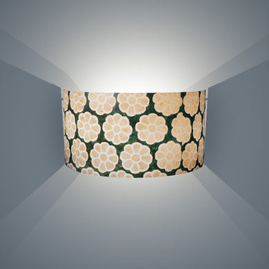 Wall Light - P19 - Batik Big Flower on Green, 36cm(wide) x 20cm(h) - Imbue Lighting