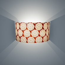 Wall Light - P20 - Batik Big Flower on Brown, 36cm(wide) x 20cm(h) - Imbue Lighting