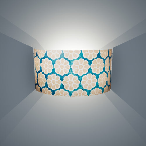 Wall Light - P23 - Batik Big Flower on Teal, 36cm(wide) x 20cm(h) - Imbue Lighting