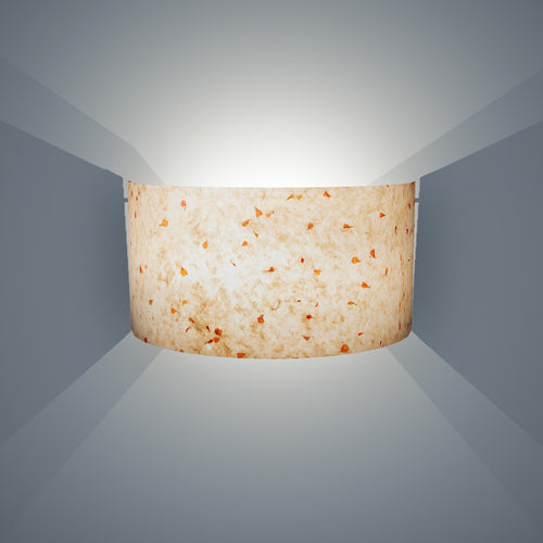 Wall Light - P32 - Marigold Petals on Natural Lokta, 36cm(wide) x 20cm(h) - Imbue Lighting