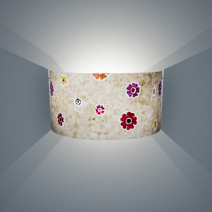 Wall Light - P35 - Batik Multi Flower on Natural, 36cm(wide) x 20cm(h) - Imbue Lighting