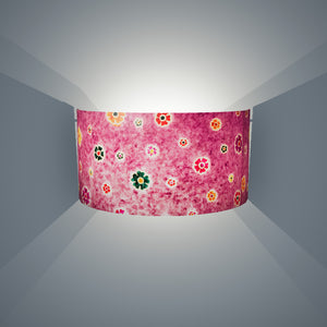 Wall Light - P38 - Batik Multi Flower on Purple, 36cm(wide) x 20cm(h) - Imbue Lighting