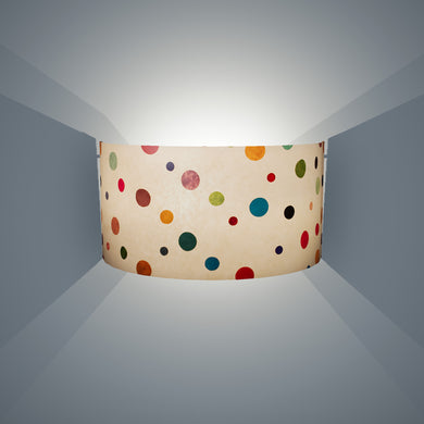 Wall Light - P39 - Polka Dots on Natural Lokta, 36cm(wide) x 20cm(h) - Imbue Lighting