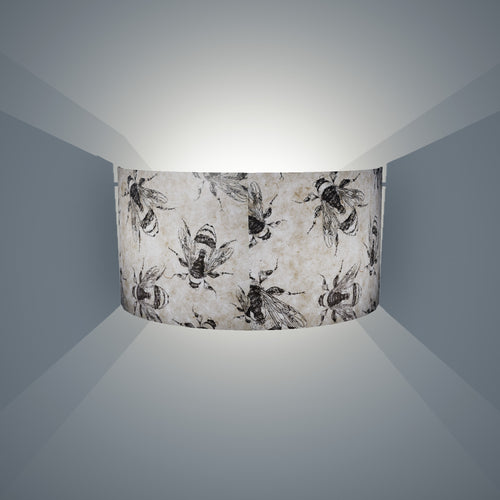 Wall Light - P42 - Bees Screen Print on Natural Lokta, 36cm(wide) x 20cm(h) - Imbue Lighting