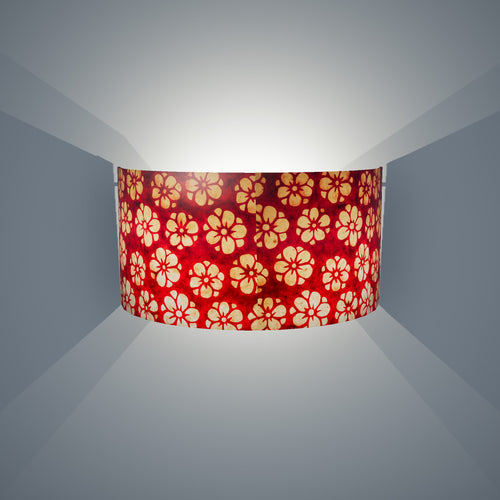 Wall Light - P76 - Batik Star Flower Red, 36cm(wide) x 20cm(h)