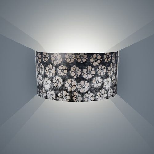 Wall Light - P77 - Batik Star Flower Grey, 36cm(wide) x 20cm(h)