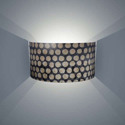 Wall Light - P78 - Batik Dots on Grey, 36cm(wide) x 20cm(h)