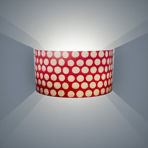 Wall Light - P84 ~ Batik Dots on Red, 36cm(wide) x 20cm(h)
