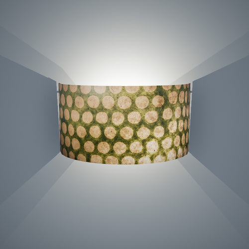 Wall Light - P87 ~ Batik Dots on Green, 36cm(wide) x 20cm(h)