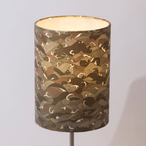Drum Lamp Shade - W03 - Gold Waves on Greys, 15cm(d) x 20cm(h) - Imbue Lighting