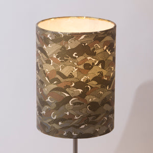 Drum Lamp Shade - W03 - Gold Waves on Greys, 15cm(d) x 20cm(h)