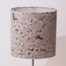 Drum Floor Lamp - W02 ~ Pink Cherry Blossom on Grey, 22cm(d) x 114cm(h)