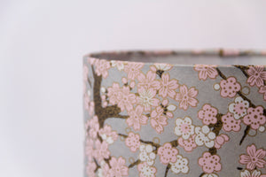 Drum Lamp Shade - W02 ~ Pink Cherry Blossom on Grey, 60cm(d) x 30cm(h)