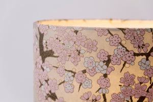 Oval Lamp Shade - W02 ~ Pink Cherry Blossom on Grey, 30cm(w) x 20cm(h) x 22cm(d)