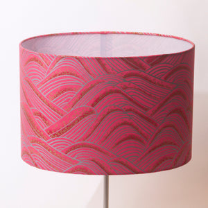 Oval Lamp Shade - W04 - Pink Hills with Gold Flowers, 30cm(w) x 20cm(h) x 22cm(d)