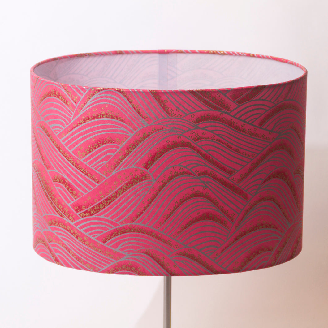 Oval Lamp Shade - W04 - Pink Hills with Gold Flowers, 30cm(w) x 20cm(h) x 22cm(d) - Imbue Lighting
