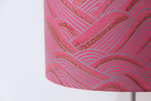 Rectangle Lamp Shade - W04 ~ Pink Hills with Gold Flowers, 30cm(w) x 30cm(h) x 15cm(d)