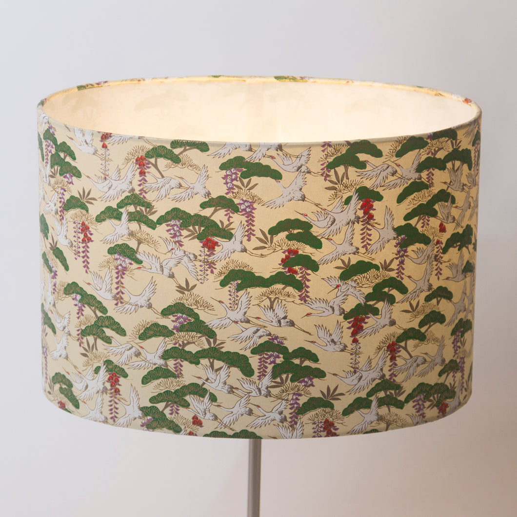 Oval Lamp Shade - W05 - Cranes, 30cm(w) x 20cm(h) x 22cm(d) - Imbue Lighting