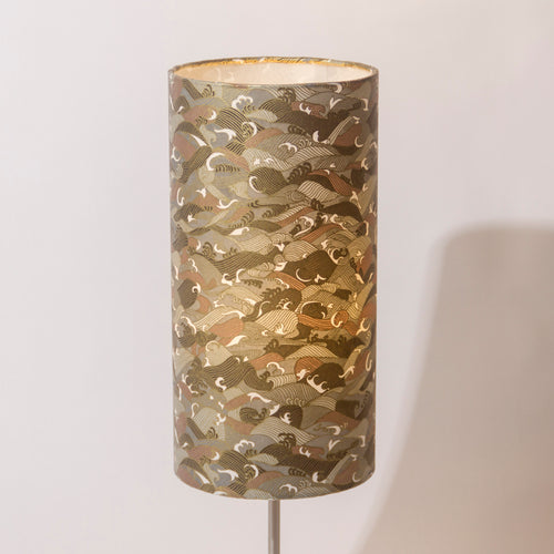 Drum Lamp Shade - W03 - Gold Waves on Grey, 15cm(d) x 30cm(h)